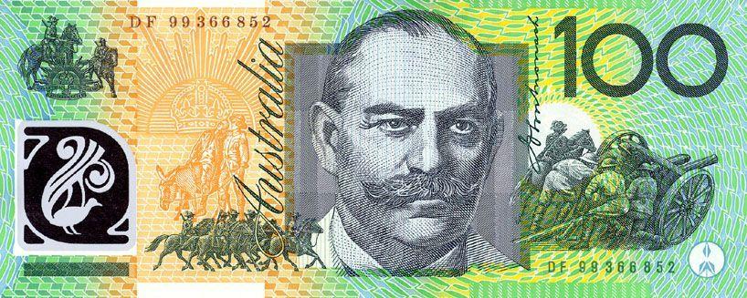 Billete de 100 cien dólares australianos