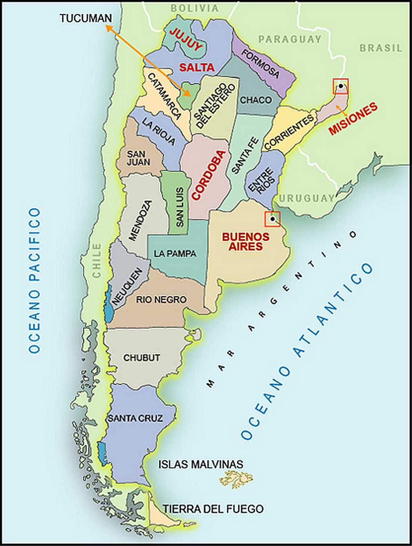 Geografia Mapa Provincias Argentina