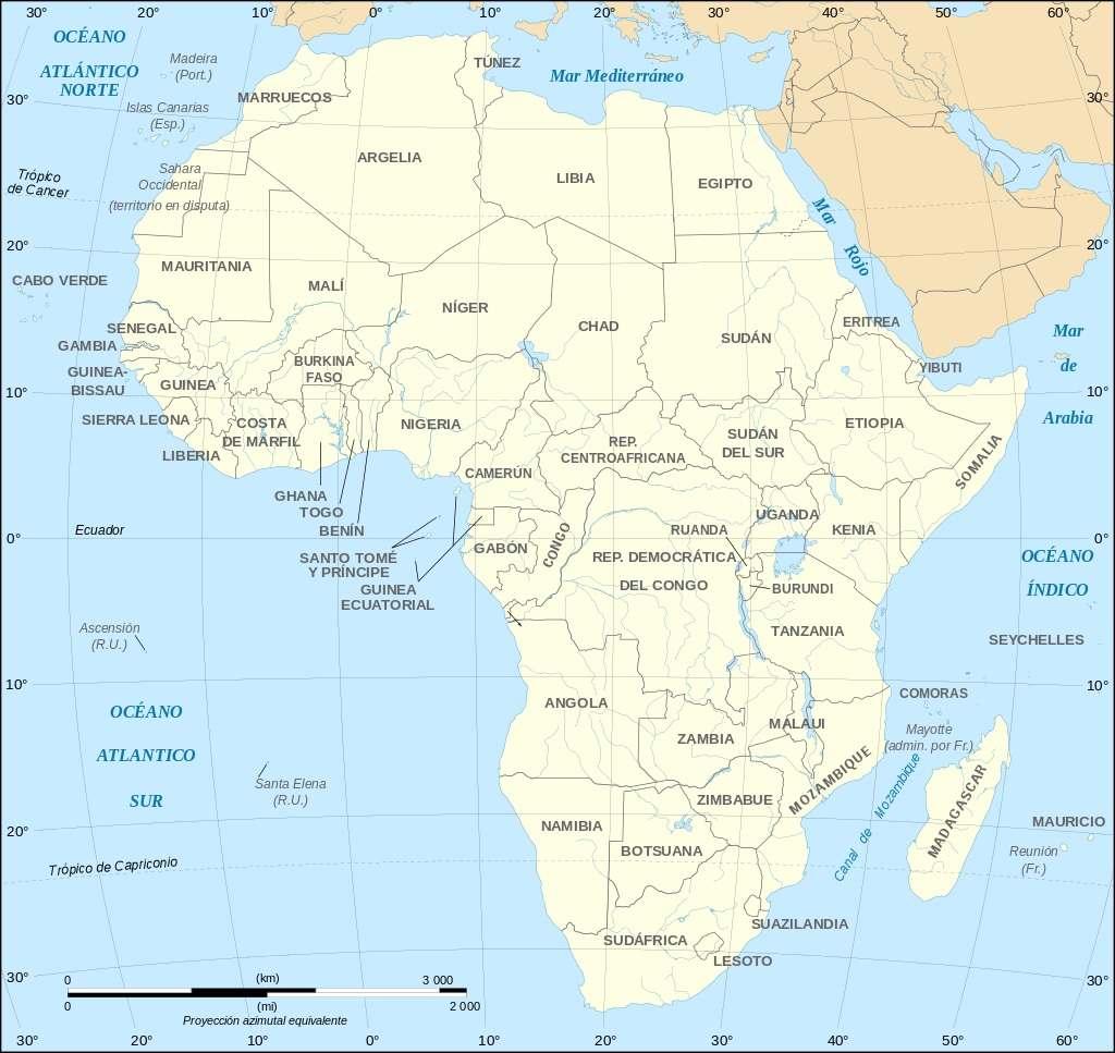 Mapa Geografia Paises Africa