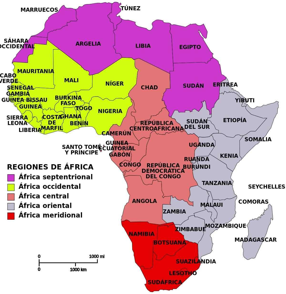 Regiones países áfrica