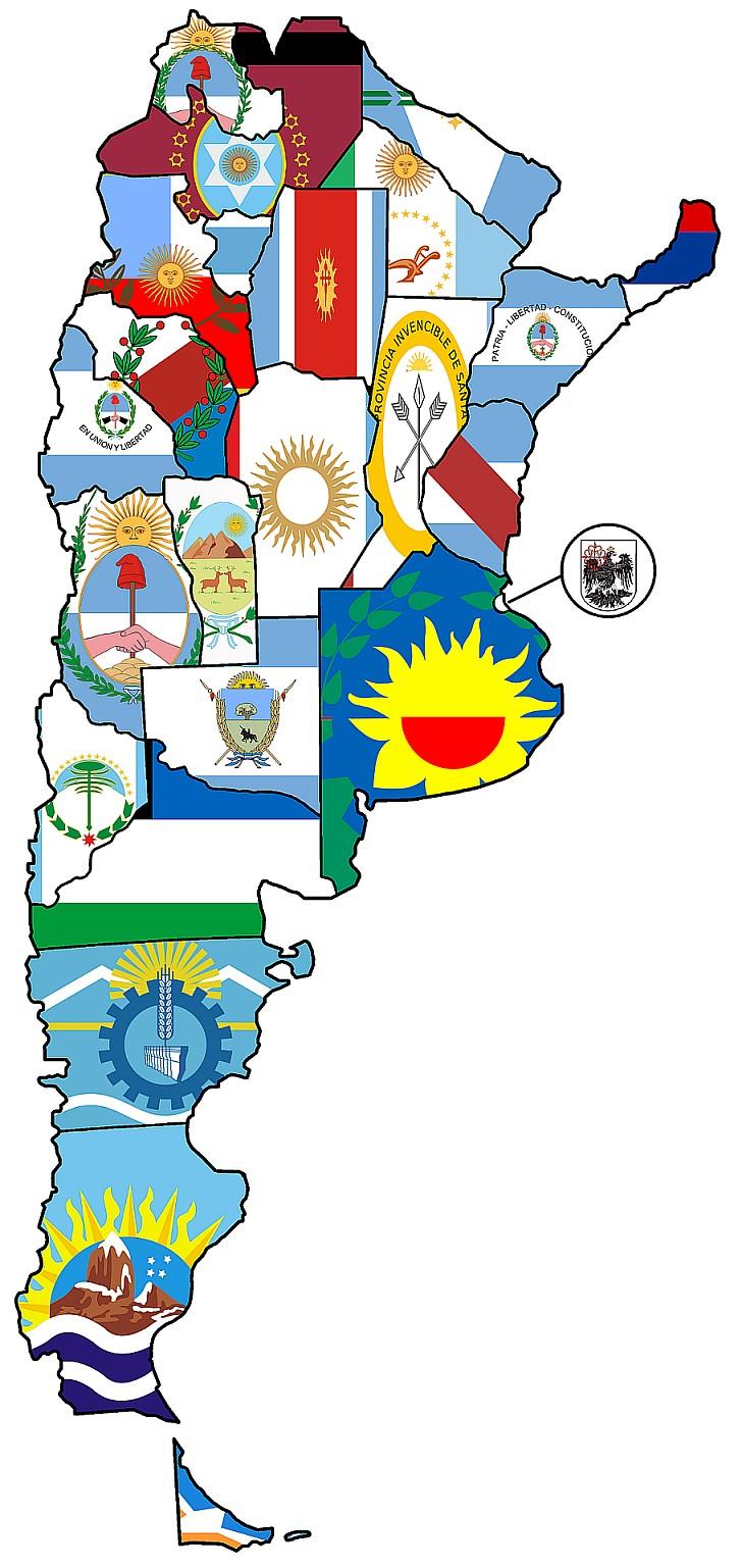 Mapa banderas provincias de Argentina