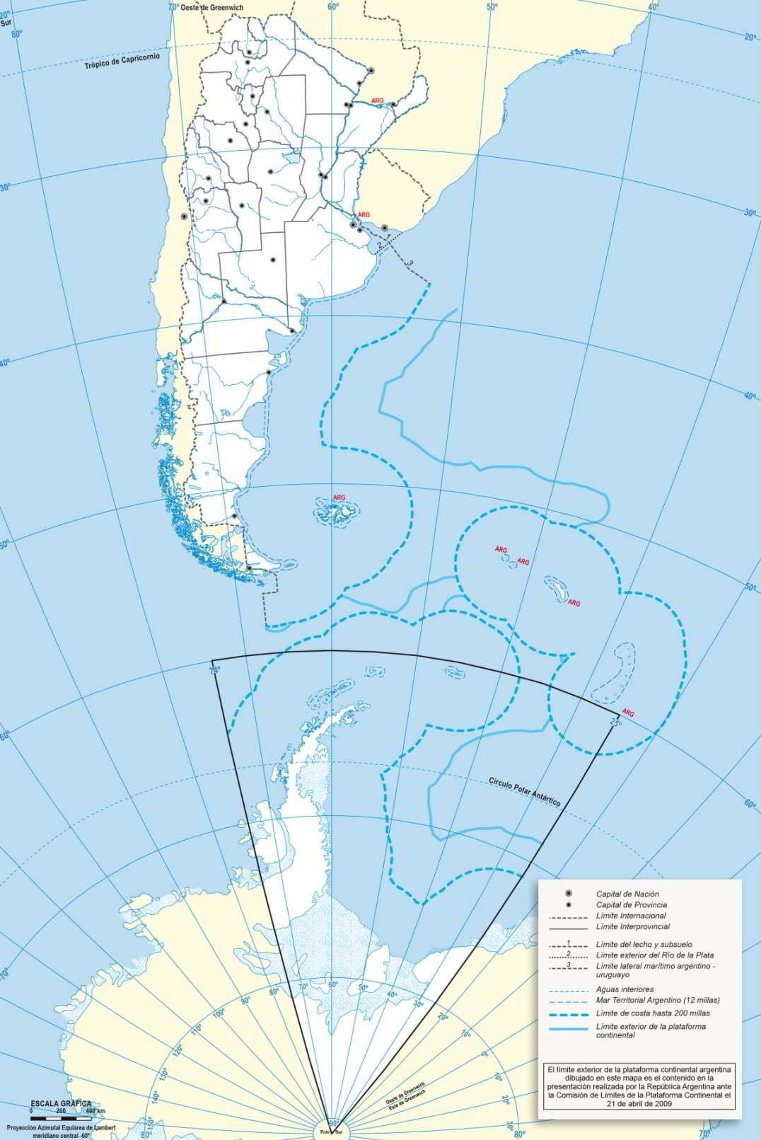 Superficie de Argentina Mapa politico
