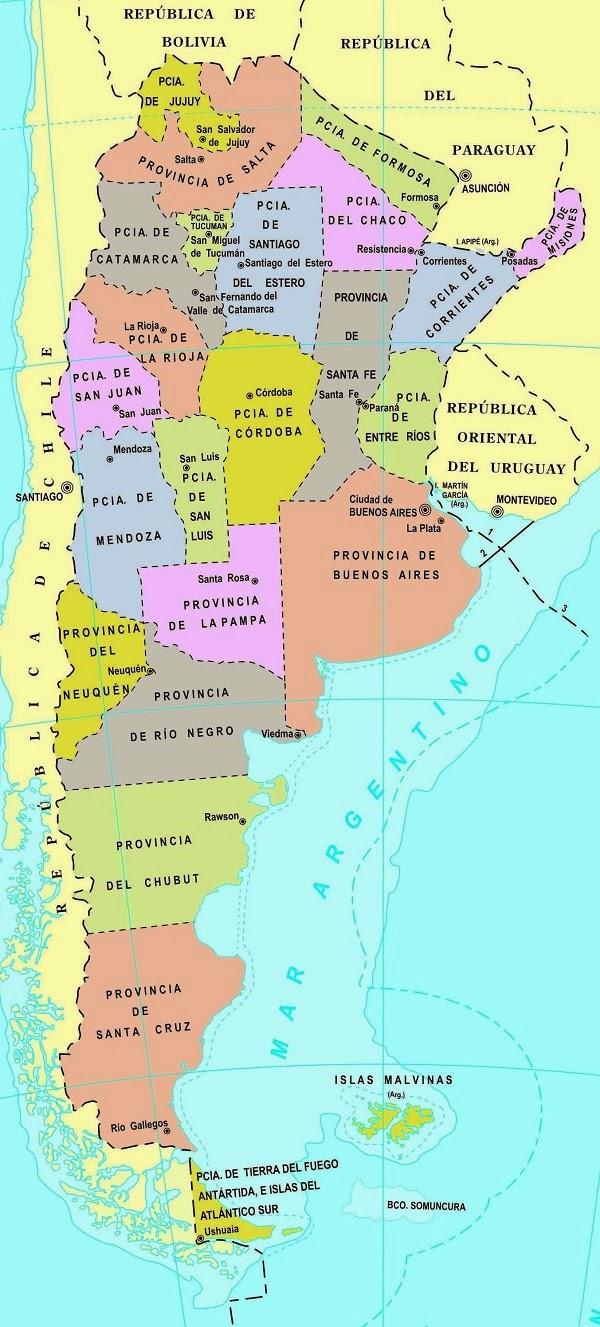 Mapa Argentina Provincias Division Politica Capitales