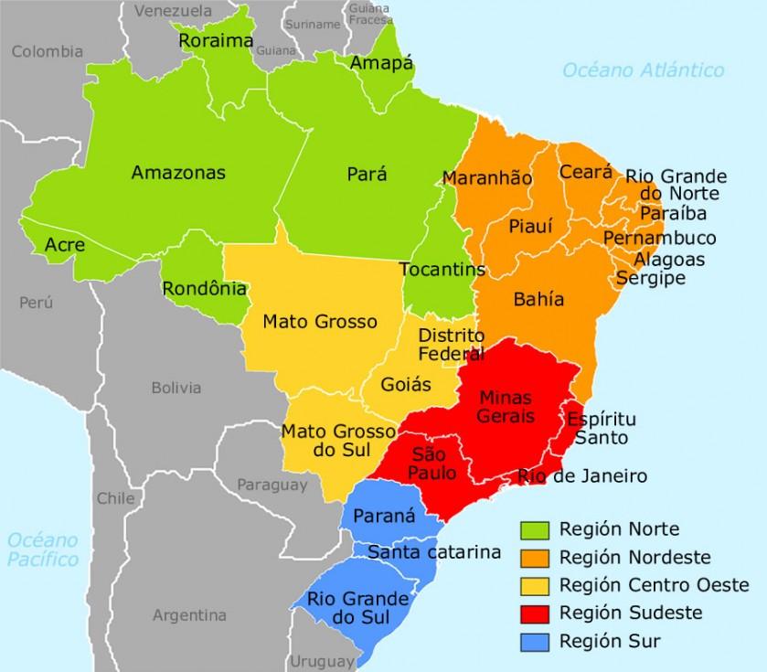 Mapa Estados Regiones Brasil