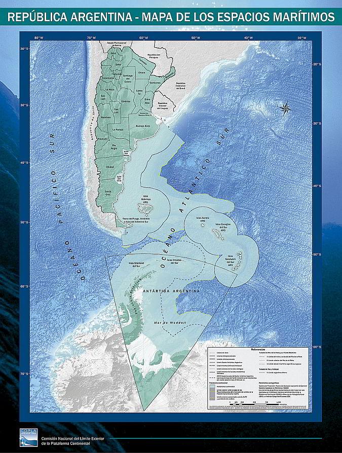 Mapa Argentina país bicontinental