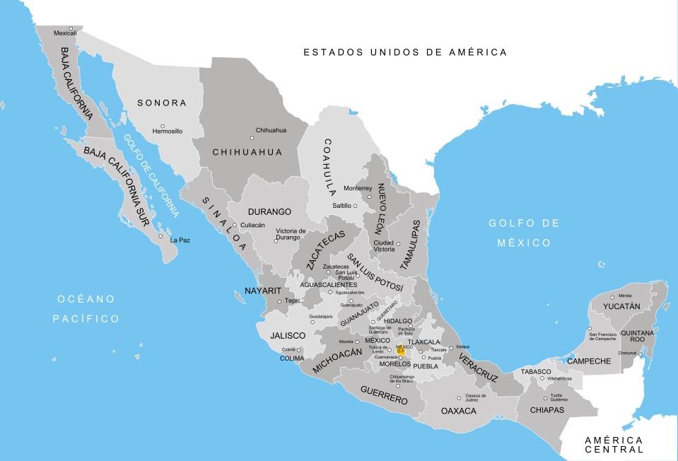 Geografía Mexico Division política Organizacion territorial Estados mexicanos