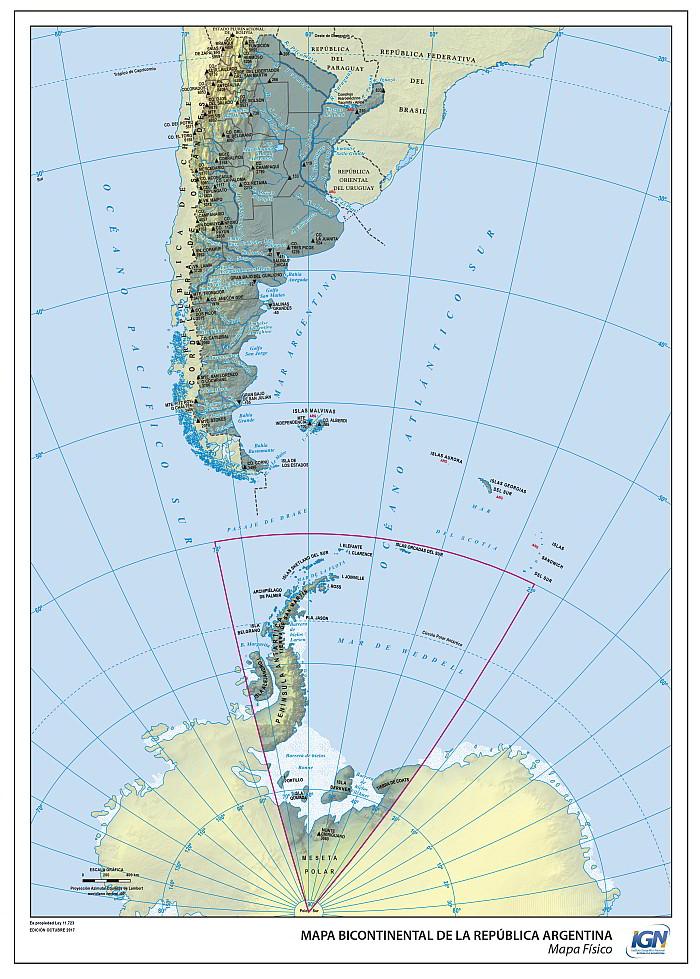 Mapa Argentina bicontinental