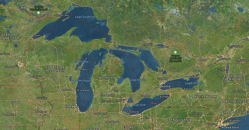 Grandes lagos Estados Unidos Norteamerica Satelital