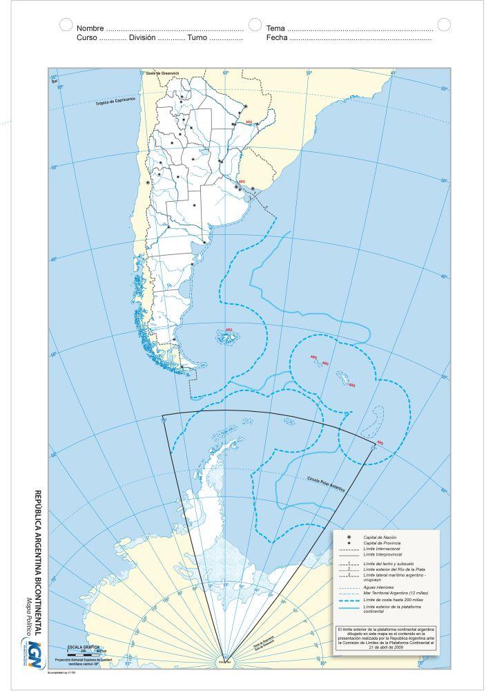 Mapa bicontinental escolar político Argentina
