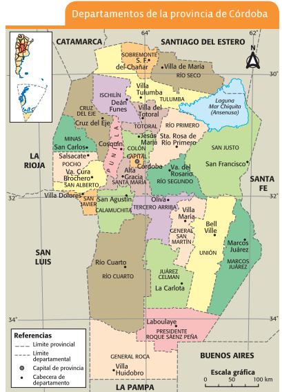 Mapa de los departamentos de la provincia de Córdoba